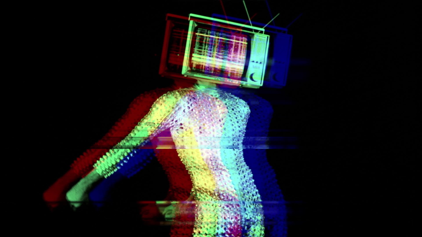 Mr tv head cool man in a silver costume dancing the floss dance with a television as a head. the tv is has video static and noise playing on it. | Shutterstock HD Video #1029567995