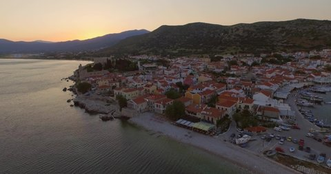 Aerial: The historical town Pythagorion on Samos.