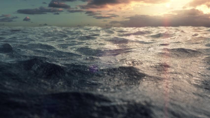 4K Ocean Sunset 3D realistic simulation | Shutterstock HD Video #1029610595