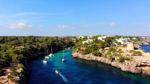 Aerial shot of Cala Pi on the balearic Island of Majorca