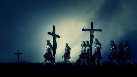 Roman Soldiers Passing By Crucified Victims