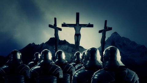 Roman Soldiers Looking at Crucified Men