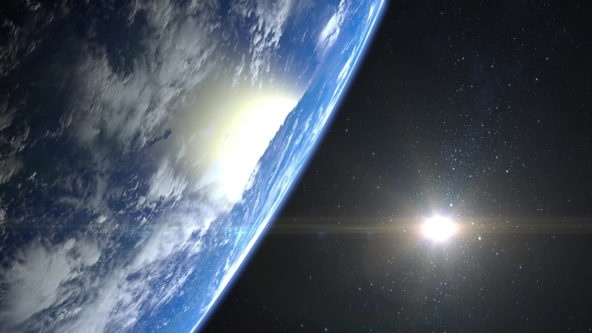 Earth from space. The camera flies away from the Earth. Stars twinkle. 4K. Sunrise. Realistic atmosphere. 3D Volumetric clouds. The sun is in the frame. | Shutterstock HD Video #1029786755