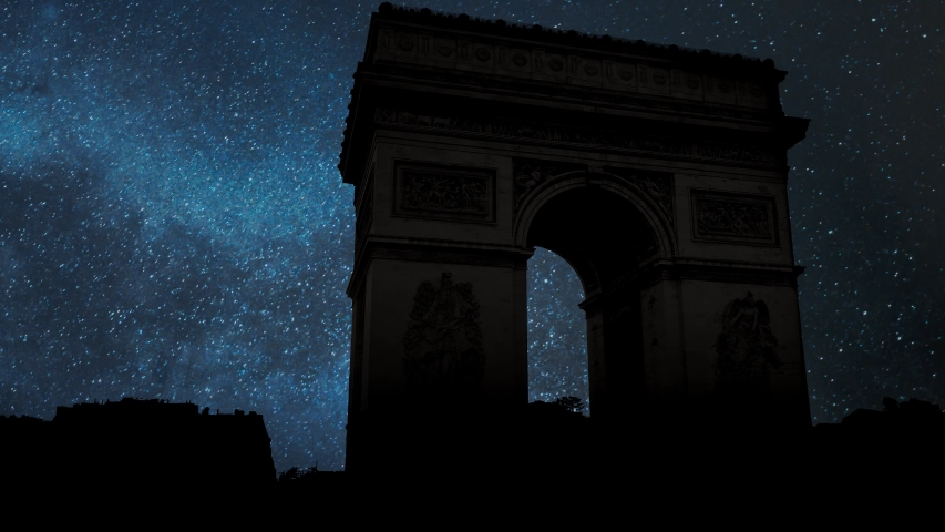 Arc de Triomphe de l'Etoile or Triumphal Arch of the Star: Night with Stars and Milky Way, Paris, France | Shutterstock HD Video #1029821225