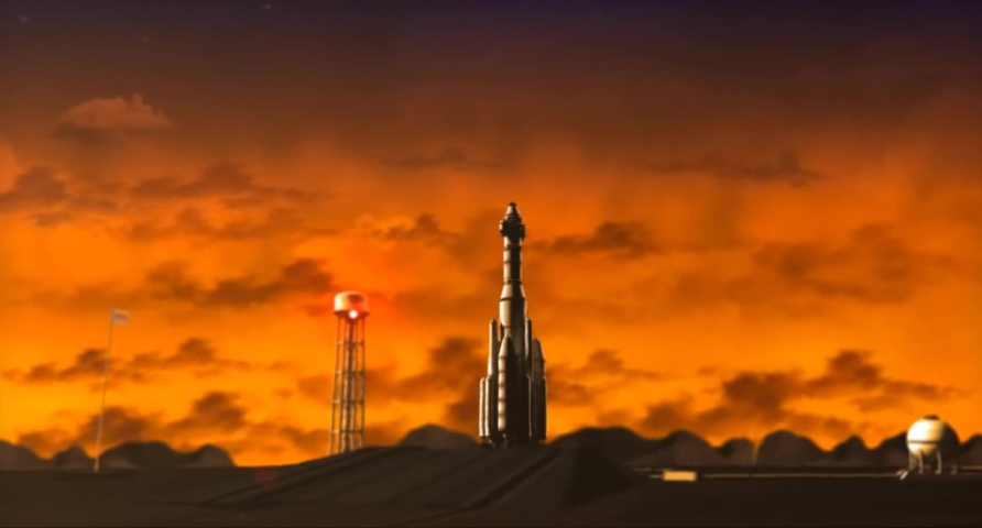 Cartoon space shuttle going into space short movie | Shutterstock HD Video #1029821525