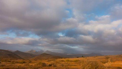 Morning Timelapse of Lanzarote Timanfaya Mountain and Clouds.