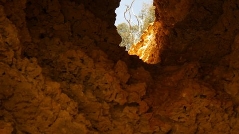 The roof of a cave has eroded away leaving a large hole stretching up to the surface above. TILT UP SHOT