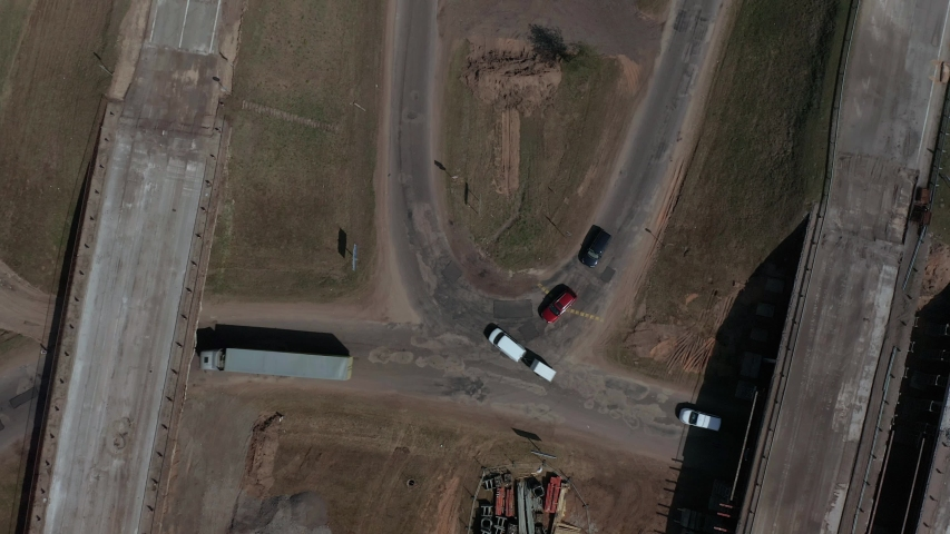 Aerial footage of road construction in Latvia. Suitabe to show road construction work at spring or autumn. #1029958535