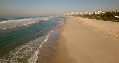 Aerial beach view of Barra da Tijuca Beach, Rio de Janeiro - Brazil.