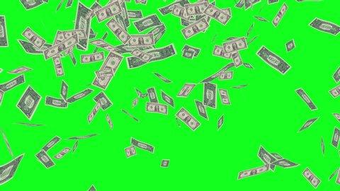 Green Screen Dollar Bills Rain Effects Animation, Money Rain 4k animation in green screen, Money dollars rain effect animation green screen, Dollar bills falling rain