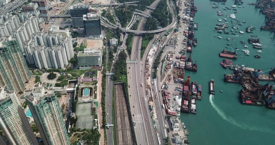Aerial view in highway of Kowloon (near Yau Ma Tei) , Hong Kong  | Shutterstock HD Video #1030104575