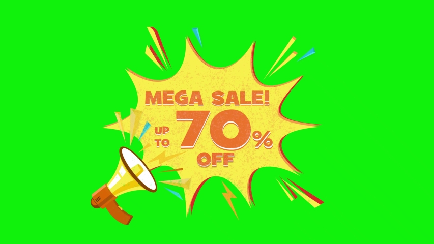 Mega sale text up to 70% off megaphone flying 3d animation on green screen  | Shutterstock HD Video #1030133345