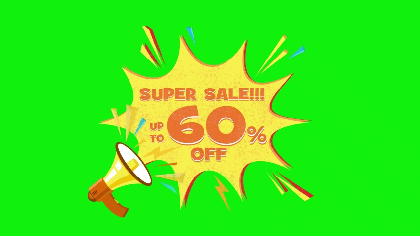 Super sale text up to 60% off megaphone flying 3d animation on green screen  | Shutterstock HD Video #1030133885