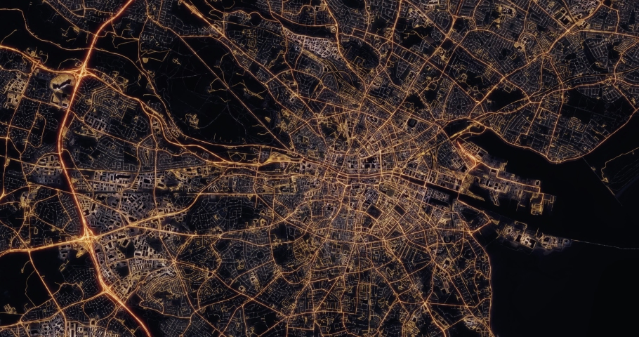 Aerial night view of city of Dublin Ireland. Traffic and street light glowing. Camera flying high above, moving forward and rotating from space filming cinematic straight down. 3d animation rendering. | Shutterstock HD Video #1030148555