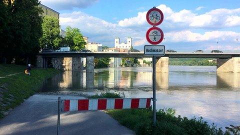 PASSAU - May 2019: Flood in Passau, Bavaria, Germany.