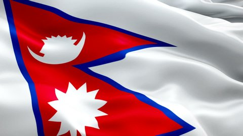 Nepal waving flag. National 3d Nepali flag waving. Sign of Nepal seamless loop animation. Nepali flag HD resolution Background. Nepal flag Closeup 1080p Full HD video for presentation