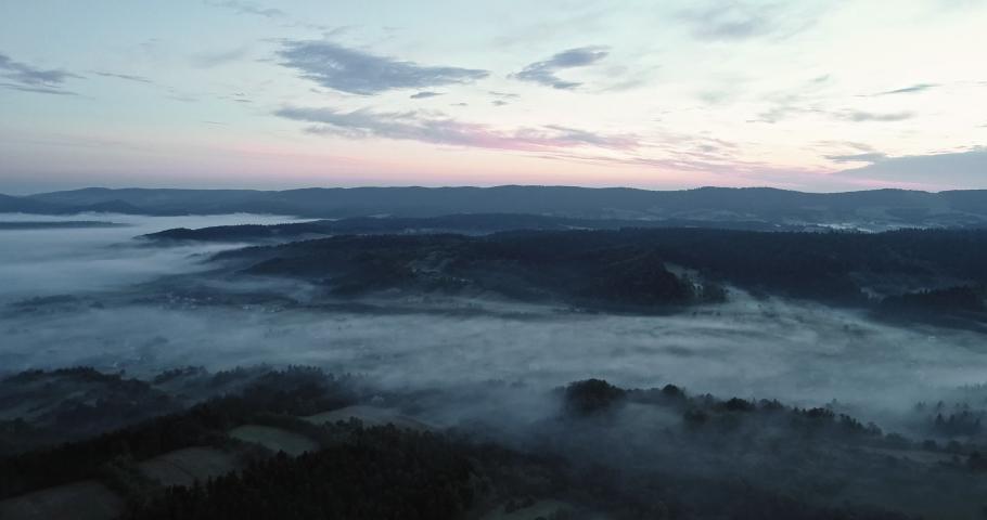 The drone flies above the Bieszczady. | Shutterstock HD Video #1030240265
