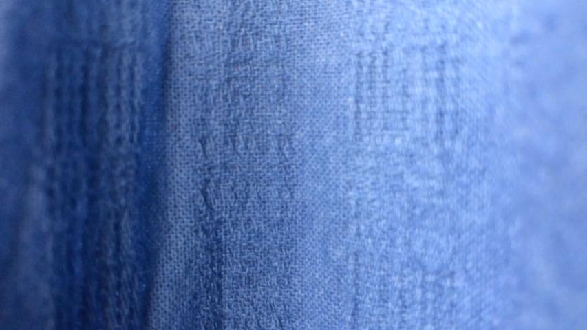 Close up blue fabric texture.