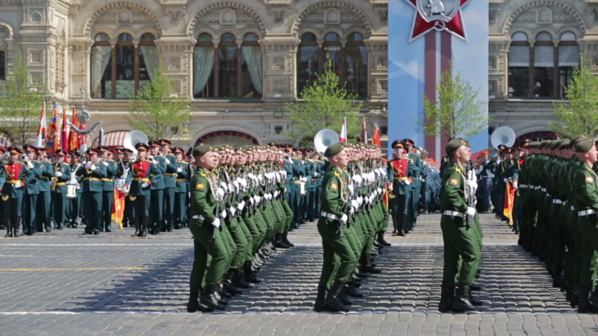 MOSCOW, RUSSIA - MAY 07, 2019: Rehearsal of the Victory Day celebration (WWII). Rehearsal of parade - ceremonial March of soldiers on Red Square. Military Academy of strategic missile forces