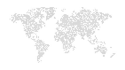 Dotted abstract world map. Dotted world map animation. 4K video.