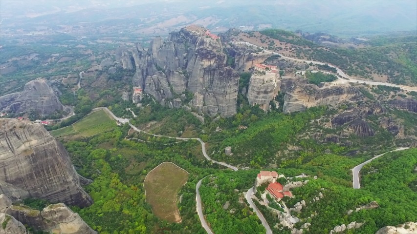 Aerial view of nature and landscape around rocky meteora monastery complex, Greece. | Shutterstock HD Video #1030486325