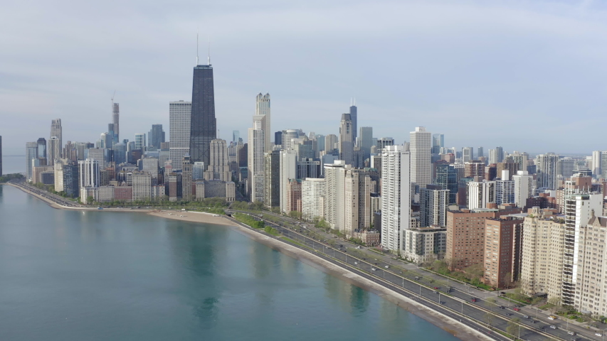 Chicago downtown skyline buildings aerial | Shutterstock HD Video #1030560035