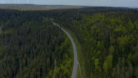 Aerial time lapse of a main road in the black forest Schwarzwald