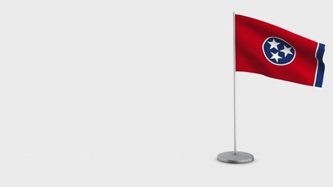 Tennessee waving flag animation on Flagpole. Perfect for background with space on the left side.