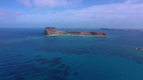 Aerial drone video of uphill medieval castle in iconic small island of Gramvousa in North West Crete island, Greece