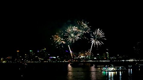 Pattaya fireworks 2019 at middle pattaya beach Bali Hai Pier