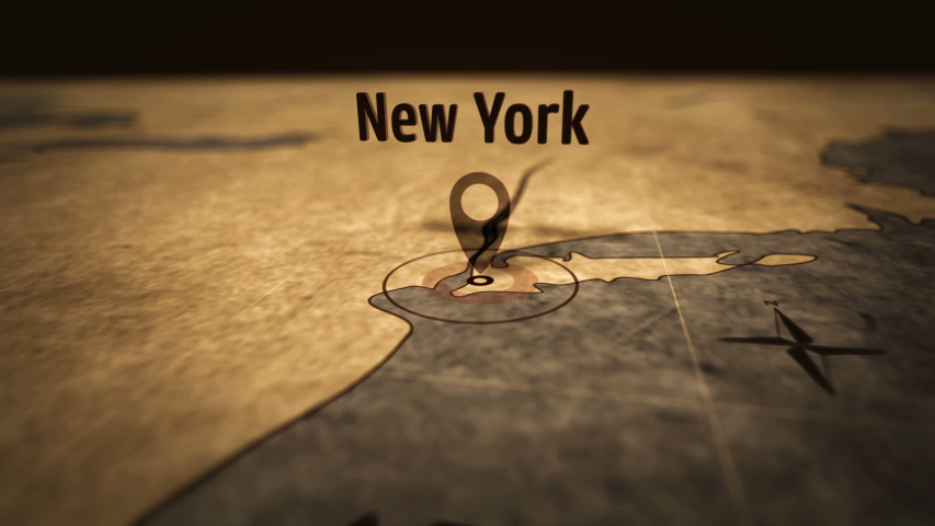 New York city on retro map in sepia color. Old atlas chart with NYC marked by pushpin. Vintage maps 3D animation.