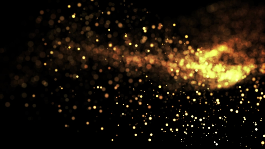 Gold particles in liquid float and glisten. Background with glittering golden particles depth of field and bokeh. Luma matte to cut out glowing particles for holiday presentations. 4k 3d animation. 4 | Shutterstock HD Video #1030915205