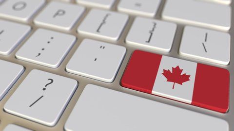 Key with flag of Canada on the computer keyboard switches to key with flag of China, translation or relocation related animation