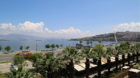 Turkey's beautiful city of Izmir landscape. Aegean sea, roads, buildings and sky. View of Guzelyali, izmir, Turkey.