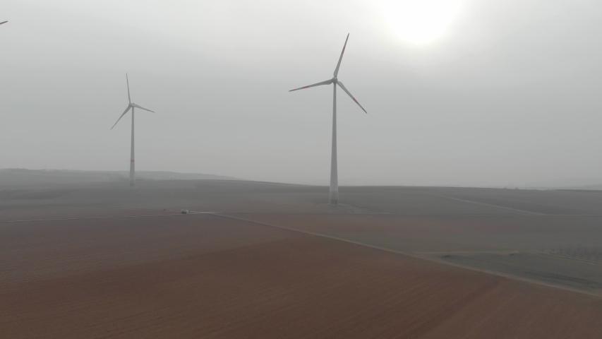 Landscape with wind turbines . | Shutterstock HD Video #1031115365