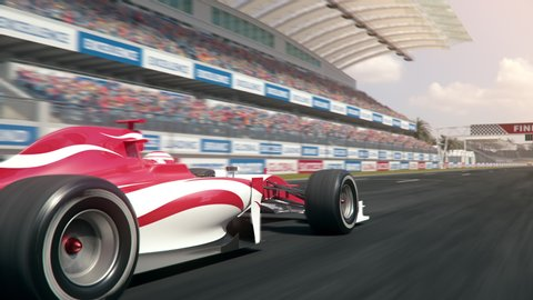 Generic formula one race car driving along the homestretch over the finish line - side view camera - realistic high quality 3d animation - my own car design - no copyright/trademark infringement