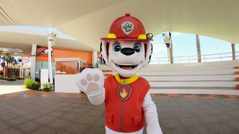 Paw patrol marshall  hotel for children nickelodeon  vacation dominican  republic punta cana  happy man in a dog suit is entertaining children   children's entertainment  license editorial 12 june 20