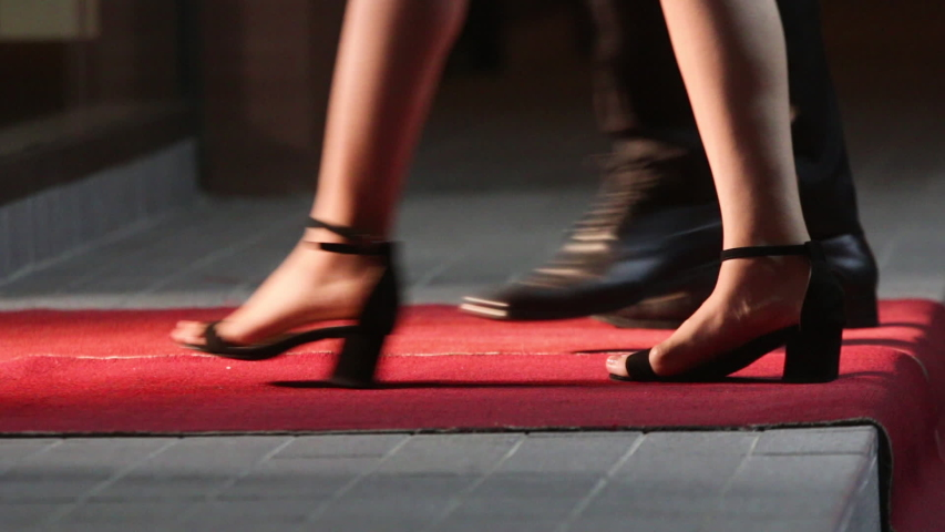 Celebrities walk the red carpet. Movie stars arrive for a premier. Low angle view of people arriving at a formal event and walking a red carpet as they enter. Women in heels and dresses. #1031305385
