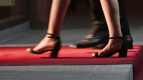 Celebrities walk the red carpet. Movie stars arrive for a premier. Low angle view of people arriving at a formal event and walking a red carpet as they enter. Women in heels and dresses.