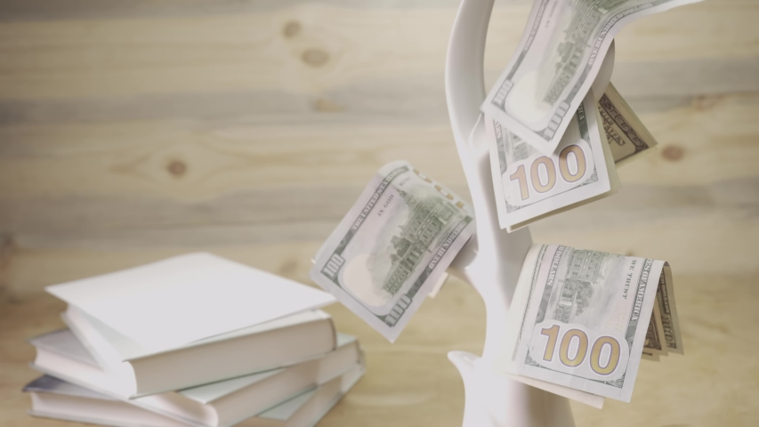 Business finance and money concept. Save money for prepare in the future. Deadline and time is money concept with hourglass and US currency. American US currency bills. Save money management concept.