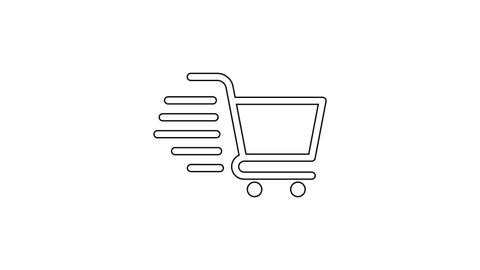 Black Shopping cart line icon on white background. Online buying concept. Delivery service sign. Supermarket basket symbol. 4K Video motion graphic animation
