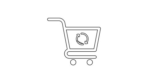 Black Refresh shopping cart line icon on white background. Online buying concept. Delivery service sign. Update supermarket basket symbol. 4K Video motion graphic animation