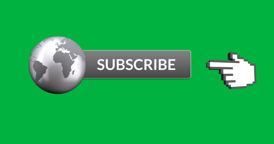 Digital animation of grey subscription button with grey image of the Earth attached on the left. Moving pointing hand icon on the right, on green background 4k | Shutterstock HD Video #1031598755
