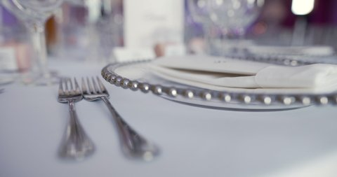 Luxury decorated table for wedding dinner
