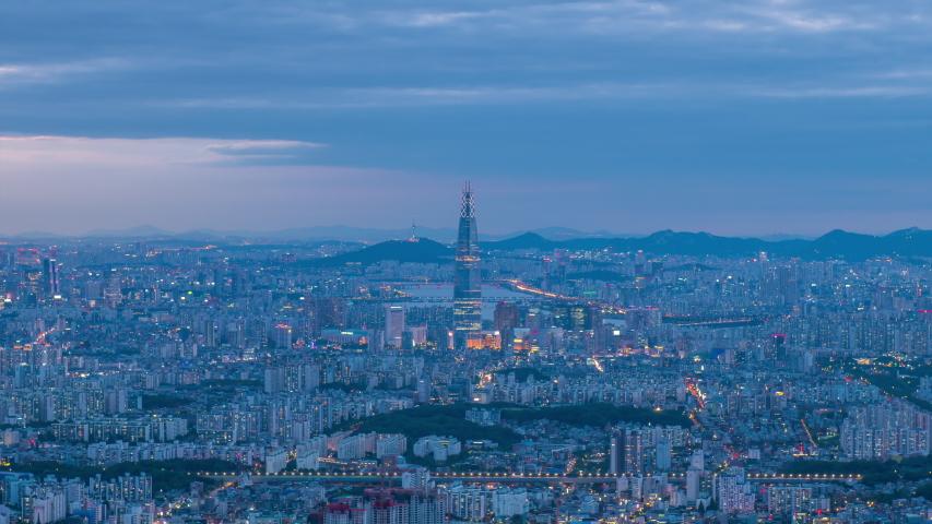 Seoul city at night, south korea | Shutterstock HD Video #1031758325