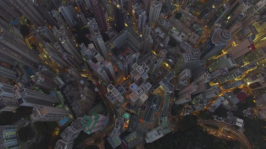 Hong Kong aerial shot at sunset | Shutterstock HD Video #1031819315