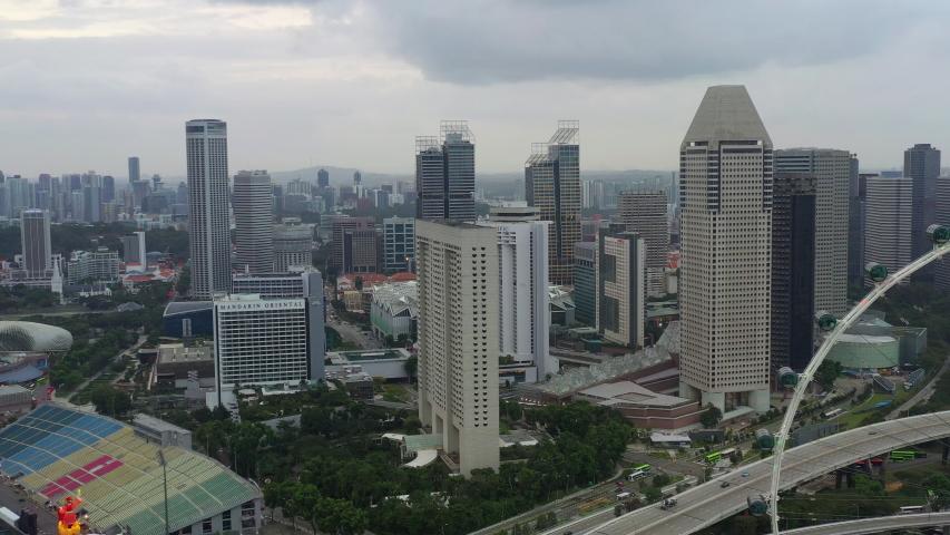 Singapore city evening time downtown bay traffic bridge downtown aerial panorama 4k | Shutterstock HD Video #1031823305