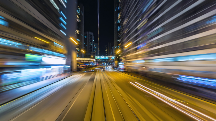 4K.Time lapse Tram fast speed at night  at hong kong city china | Shutterstock HD Video #1031887865