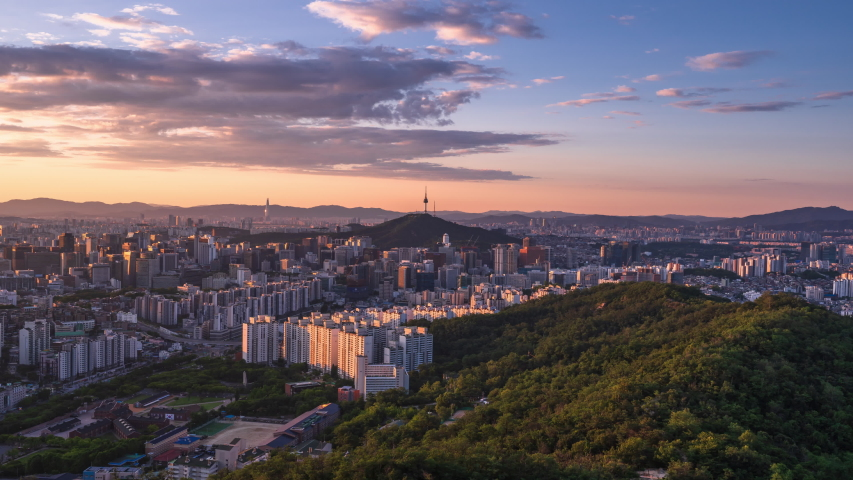 Time lapse Seoul city Skyline at South korea  | Shutterstock HD Video #1032095885