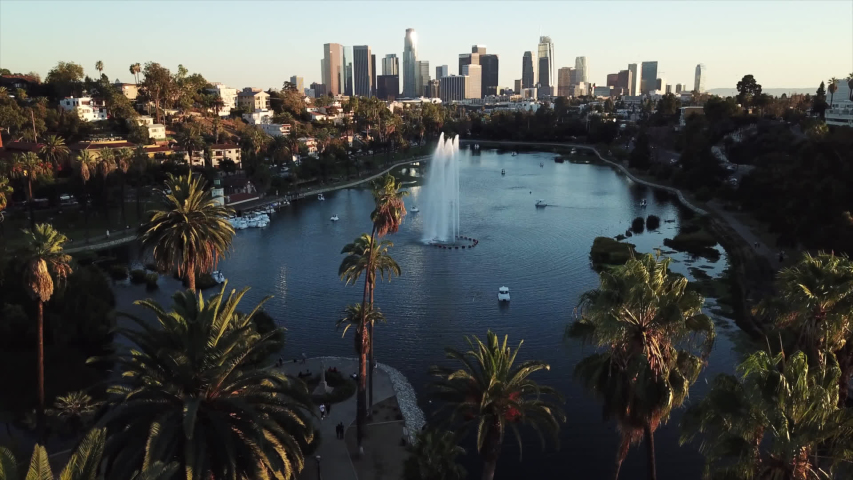 Los Angeles skyline with palm trees. | Shutterstock HD Video #1032178055
